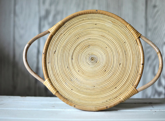 Two 13 Vintage - Woven bamboo Tray, $18