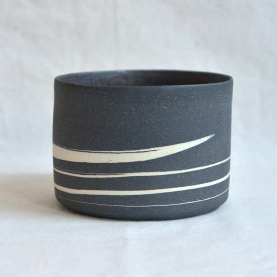 Black Marble Ceramic Tea Bowl, $111