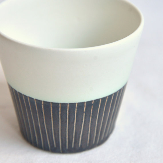 Two Tone Striped Tea Cup, $36