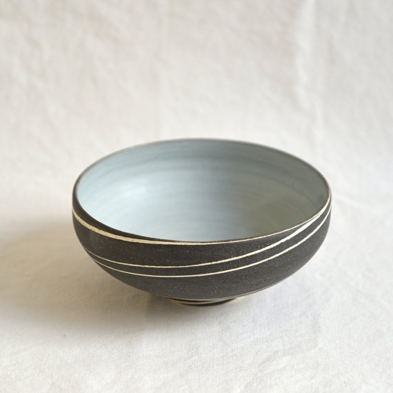 Black marble green tea bowl, $78
