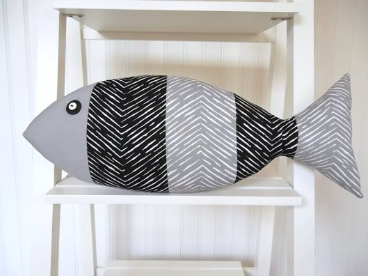 Catherine Picone - Lake House Fish Pillow, $29