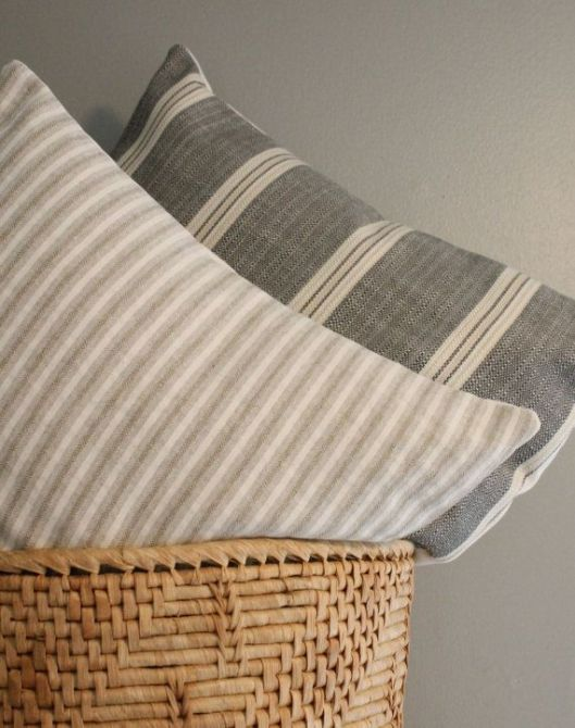 Fighting for Joy - Striped Italian Linen Pillow Cover, $30
