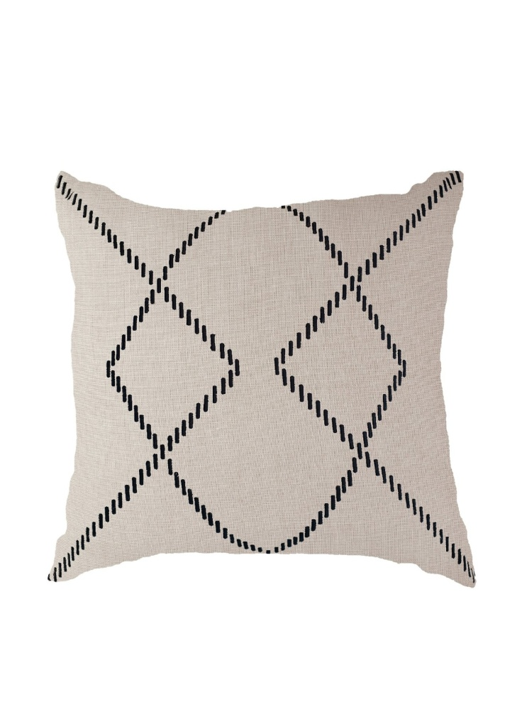 Bandhini - Linen and Black Pillow, $39