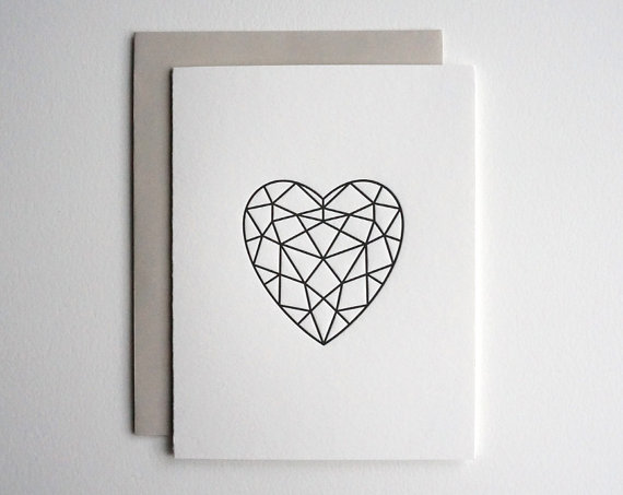 Sweet Peony Press - Letterpress facet heart card ,$5