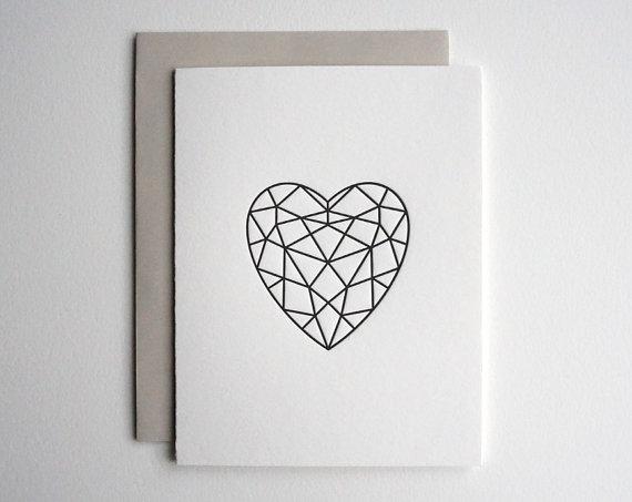 Sweet Peony Press - Letterpress facet heart card ,$5