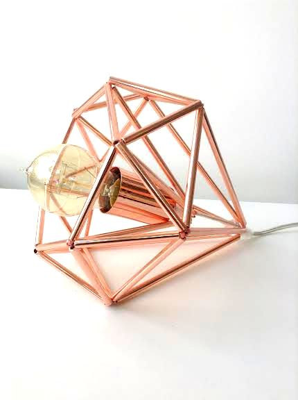 Light Cookie - Copper Himmeli cage table lamp, $85