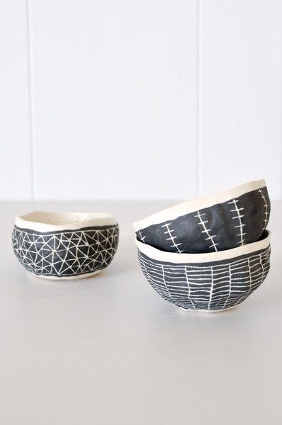 Koromiko - Black Etched Bowls, $38