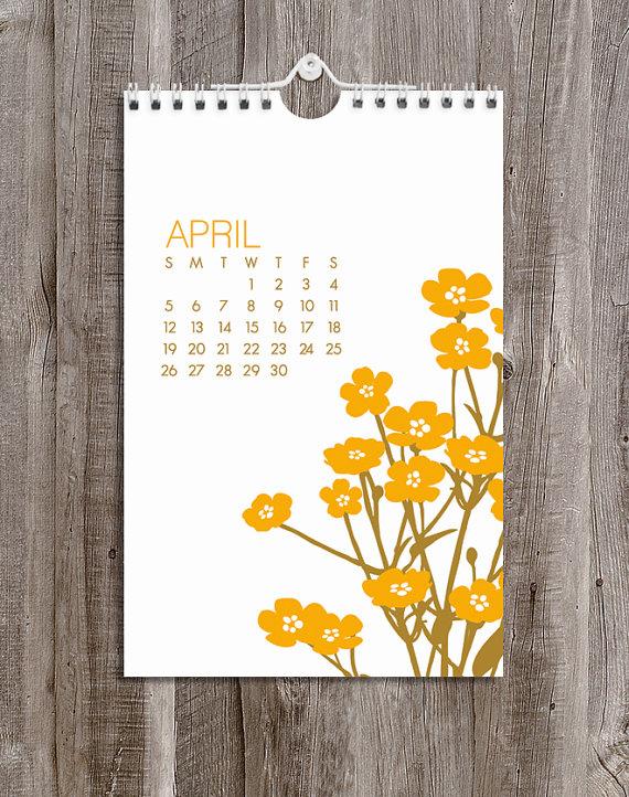 2015 Calendar - Wall - Floral by ModernPrintedMatter on Etsy