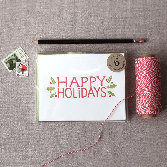Chatty Press - Happy Holidays, 6 cards + custom address stamp $45