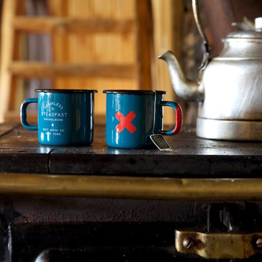 Seamless and Steadfast Enamel Steel Cups (set of 2), $32