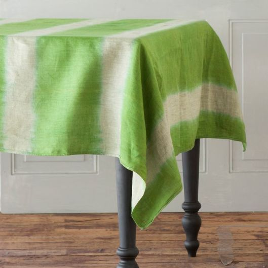 Hand-Dyed Linen Stripe Tablecloth, $188