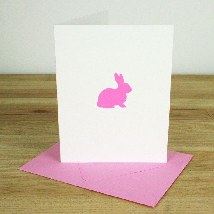 Bunny Rabbit Letterpress Card by greenbirdpress on Etsy