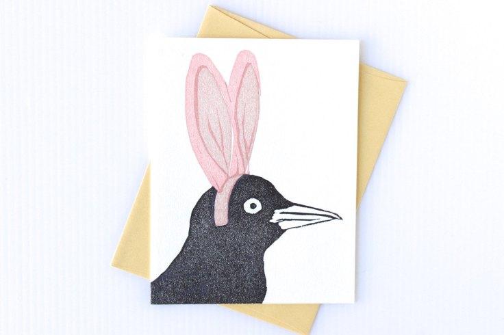 Cottontail grackle card by burdockandbramble on Etsy