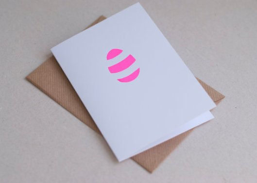 SALE Neon Pink Striped Easter Egg Card Handmade by NEONLDN