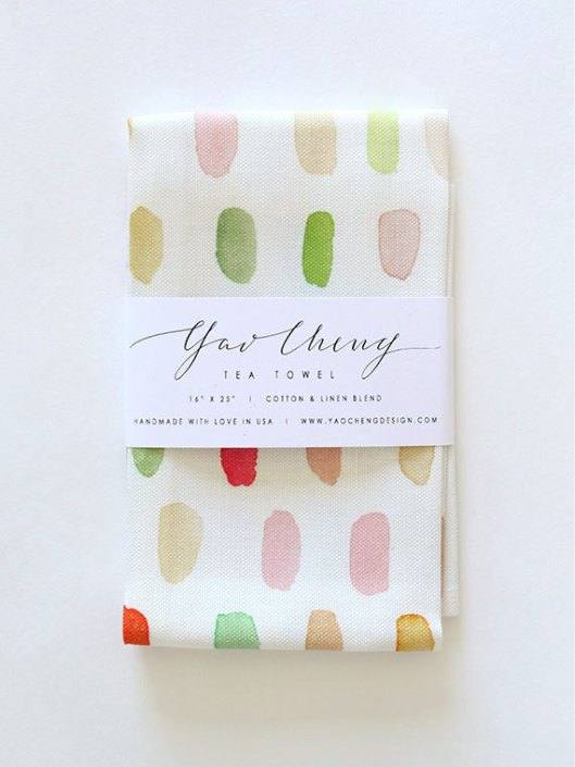 Dots in Pink and Coral Tea Towel, $32