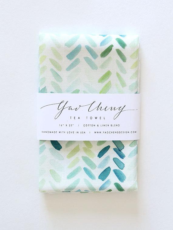 Blue and Green Herringbone Tea Towel, $32