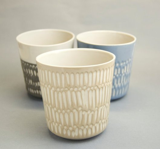 Stoneware Wide Vase, $48