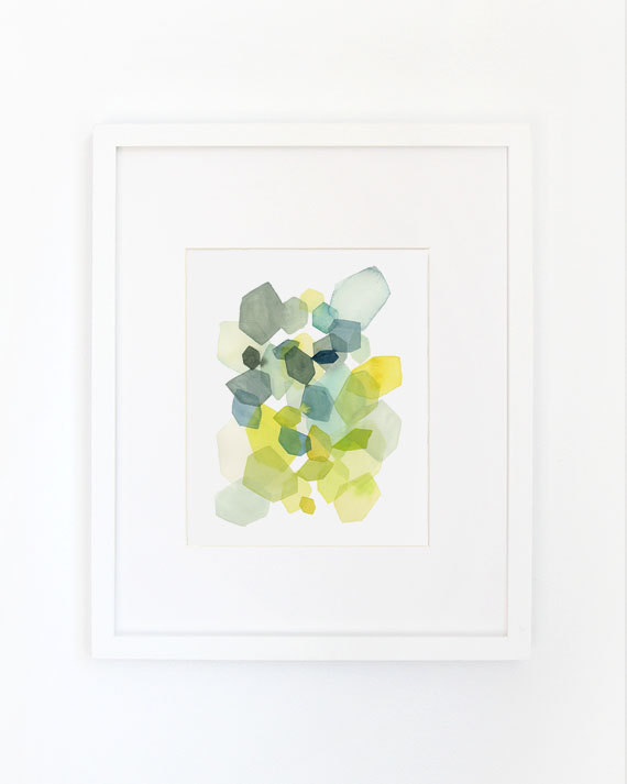 Hexagon in Green and Blue Art Print, $28
