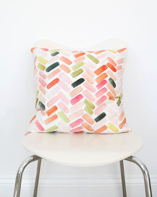 Pink and Orange Herringbone Throw Pillow, $70