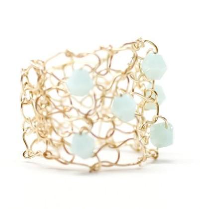Lapis Beach - 6 crystal mesh cocktail ring, $38