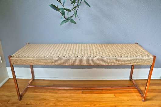 Madge & Co - Danish-inspired, copper frame cord bench, $1100