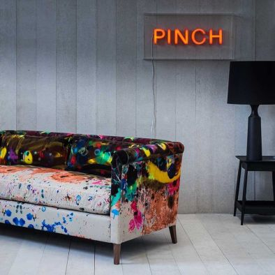 Pinch Design - 'Noelle' sofa upholstered in 'Graffiti' fabric by Timorous Beasties