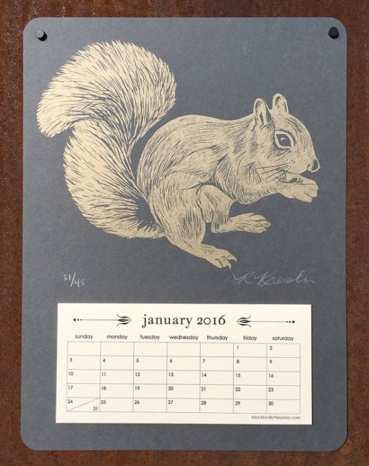 Black Bird Letterpress - Squirrel Calendar, $24