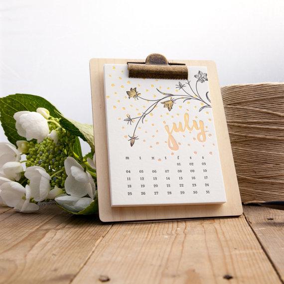 Paper Elephant Press - Sweet Sixteen Letterpress Calendar, $26