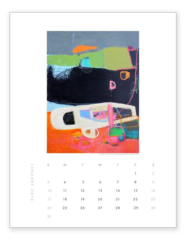 Jenny Gray Art - Abstract Wall Calendar, $32