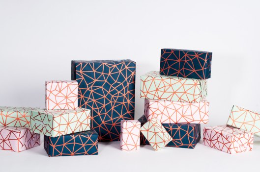 "Organic Geometry in Metallic Copper Collection - 12 sheets of 13"" x 19"" recycled newsprint (3 each of 4 designs), $14"