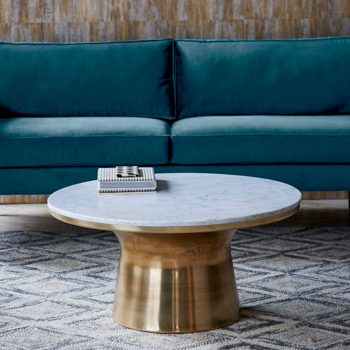 West Elm - Metal + marble pedestal table, $649